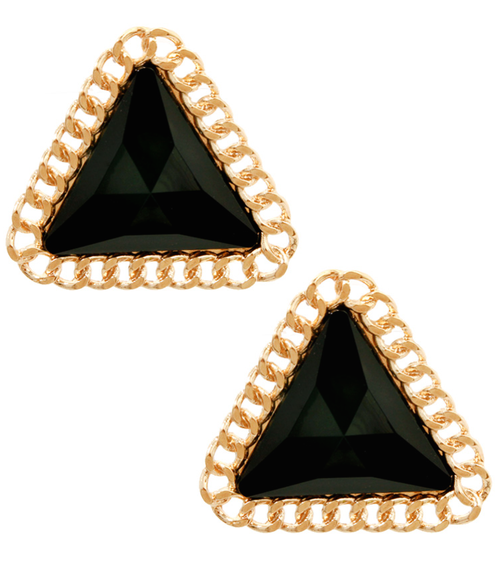 Image of Black Pyramid Chain Wrapped Earrings