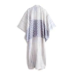 Image of Hvid Hørkimono med lavendel shibori mønster