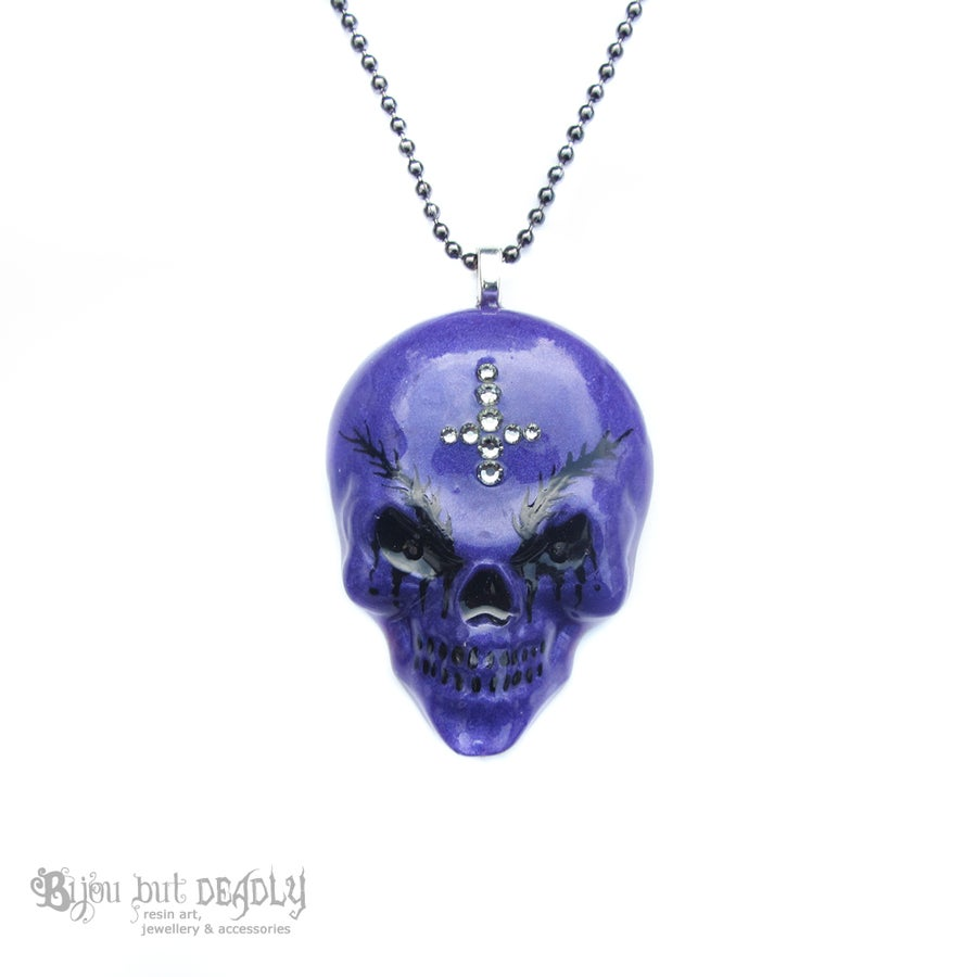 Image of Purple Resin Evil Skull Necklace with Eyebrows