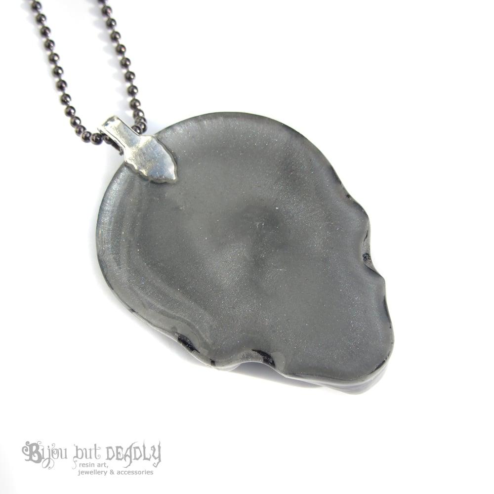 Grey/Silver Zebra Stripe Resin Skull Necklace