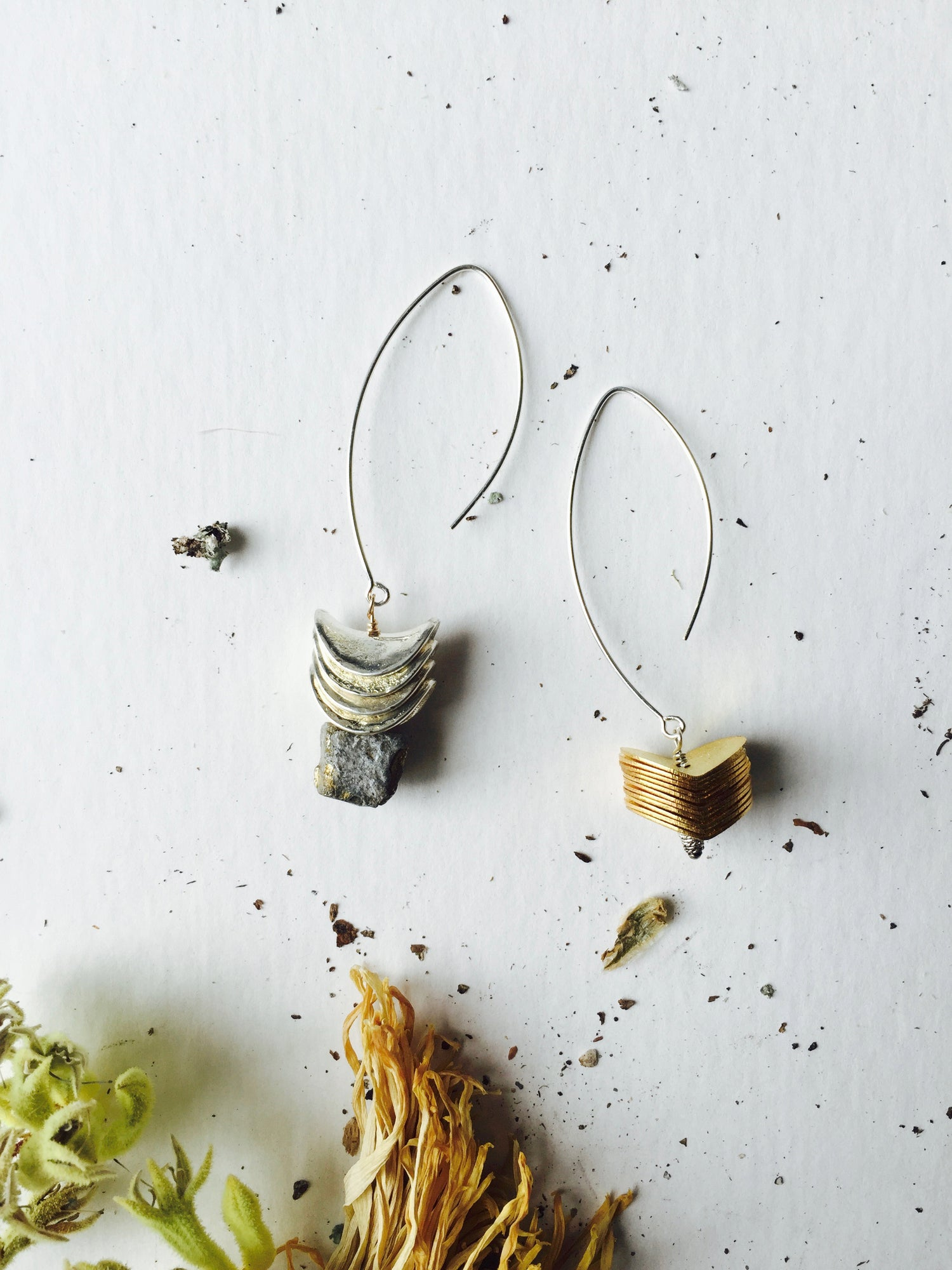 Image of Asymmetrical Pyrite Earrings
