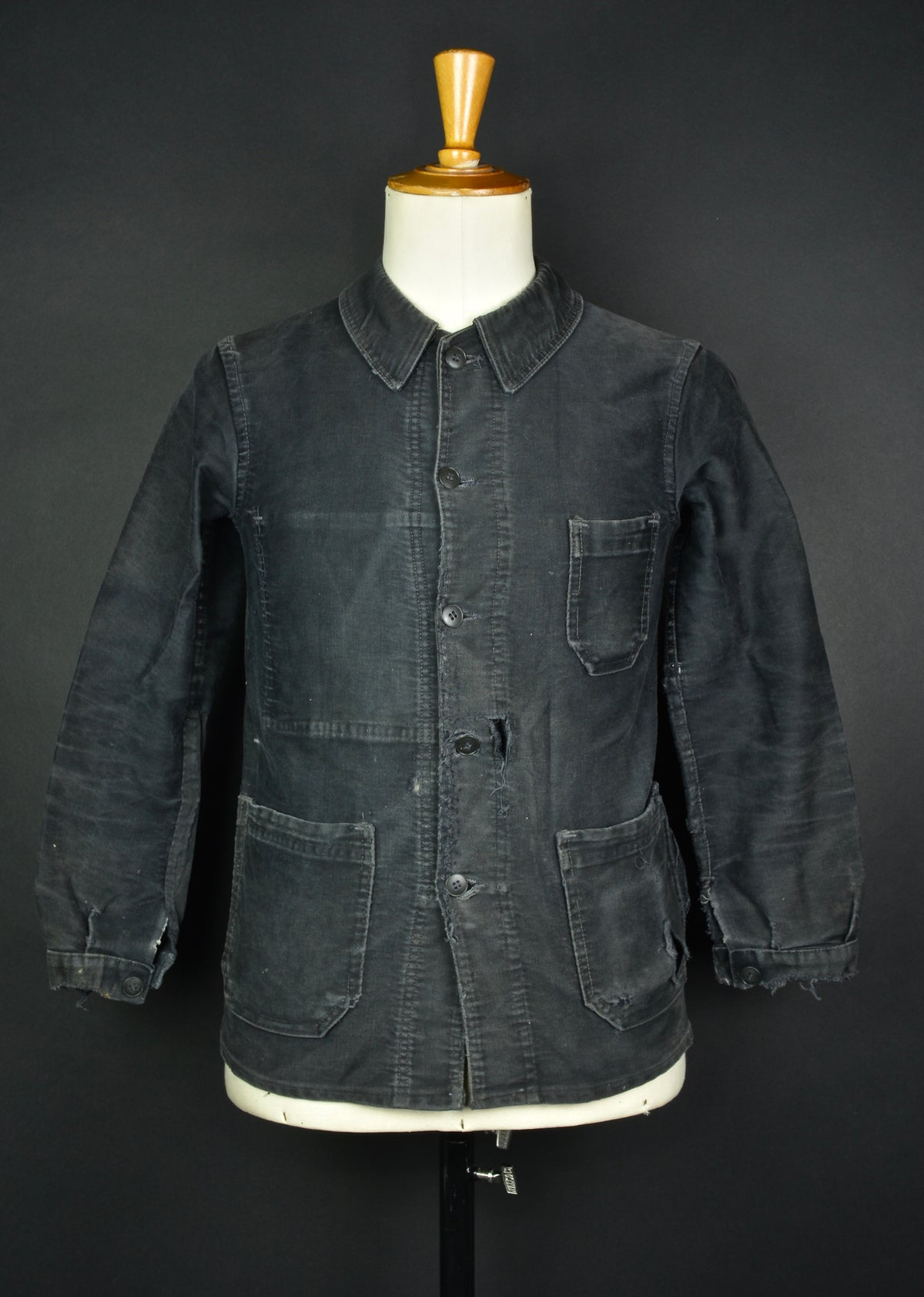 Image of 1940'S FRENCH BLACK MOLESKIN WORK JACKET FADED