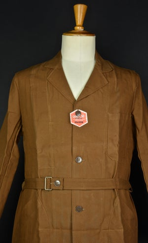 Image of 1940'S FRENCH BROWN COTTON/LINEN Au Molinel BLOUSE DEADSTOCK