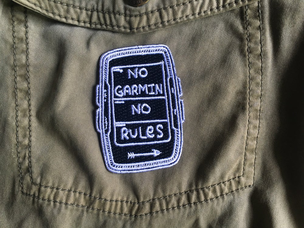 "Image of ""No Garmin No Rules"" Black Embroidered Patch plus Sticker"