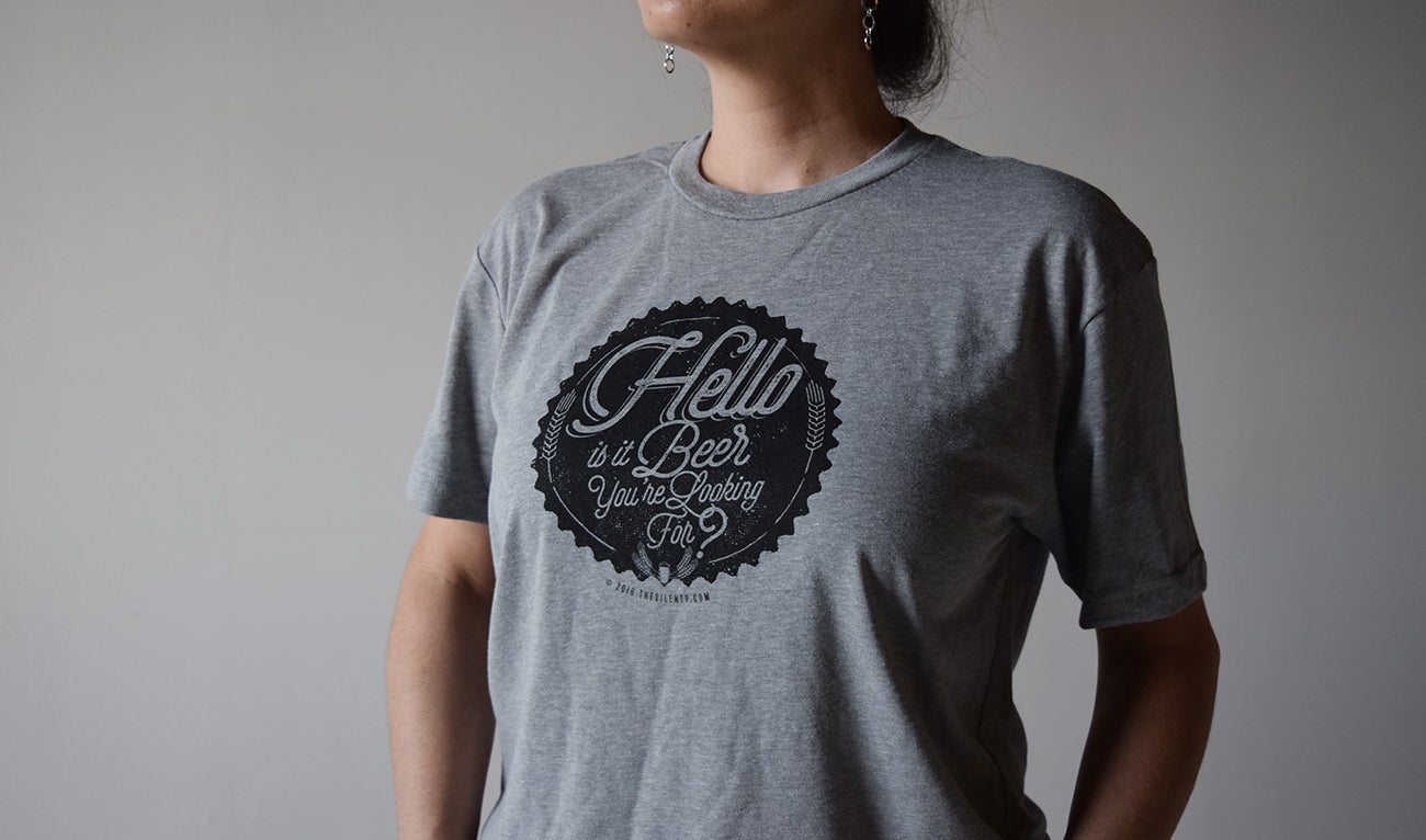 """Image of """"Hello is it Beer You're Looking For?"""" Heather Grey T-shirt"""