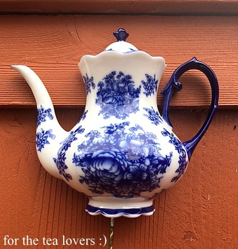 Image of Porcelain Tall Blue Hanging Teapot