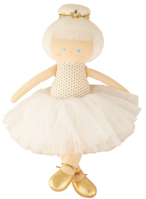 Image of Gold and White tulle Ballerina Doll