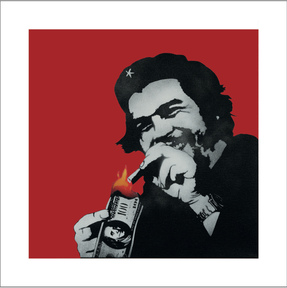 """Image of KUNSTRASEN """"BURN CAPITALISM"""" RED - LIMITED EDITION OF 50 - 60CM X 60CM"""