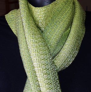 Image of Tencel Scarf - Lemongrass, sage, warm white / Handwoven / Eco-Friendly