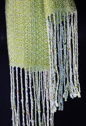 Image of Tencel Scarf - Lemongrass, sage, warm white / Handwoven / Eco-Friendly