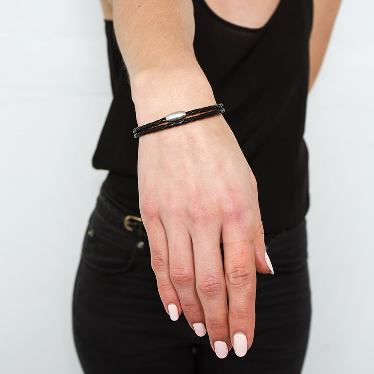 Image of Black Leather Wrap Bracelet