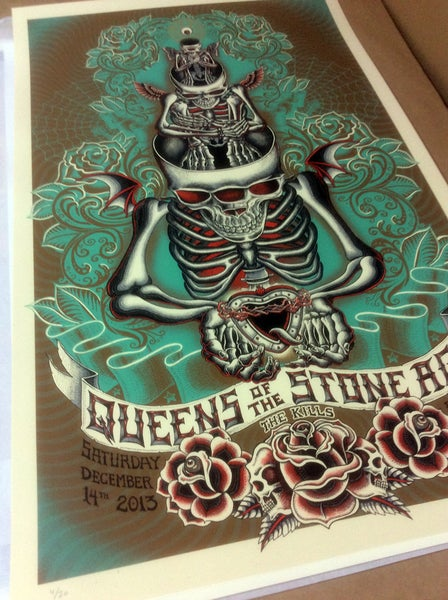 "Image of QOTSA ""Stacked Skeletons"" Teal by EMEK"