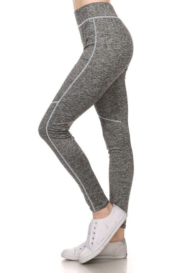 Image of COLOR STITCH HEATHER GREY LEGGINGS - GREY
