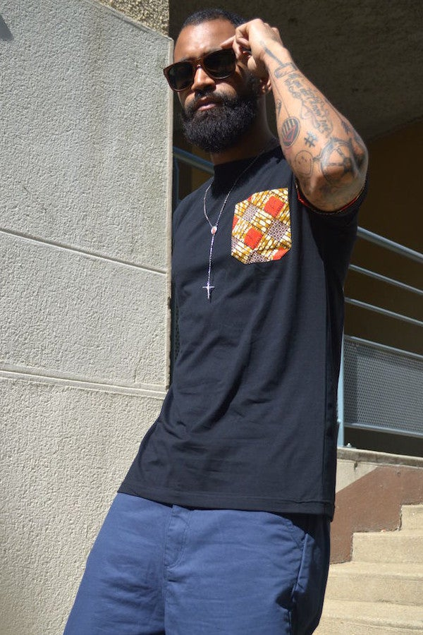 Image of J.Wax Black T-shirt with Red Brown Dutch Wax Fabric Pocket