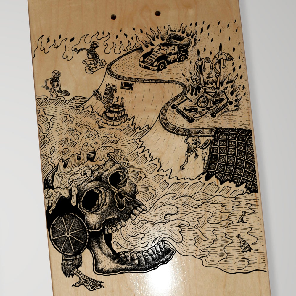 "Image of Deck ""DIY Wasteland"" / handmade screenprinted and colored wood"