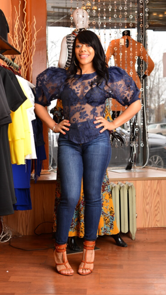 Image of Navy Lace Puff Sleeve Top