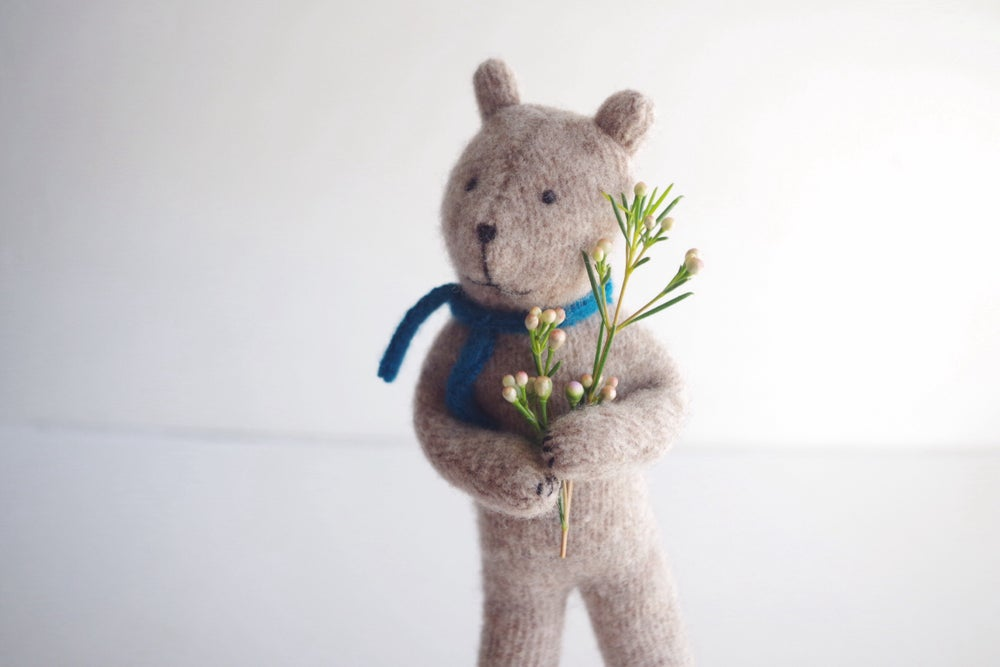 Image of Small Bear, posable wool toy