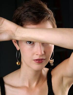 Image of Asymmetrical Pyrite Earrings
