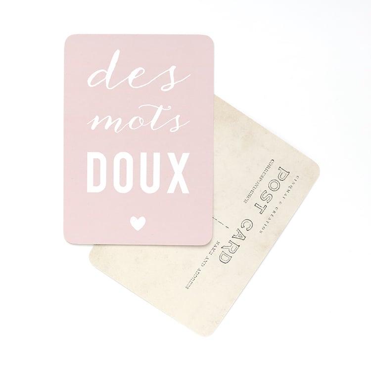 Image of Carte Postale DES MOTS DOUX / ROSE POUDRE
