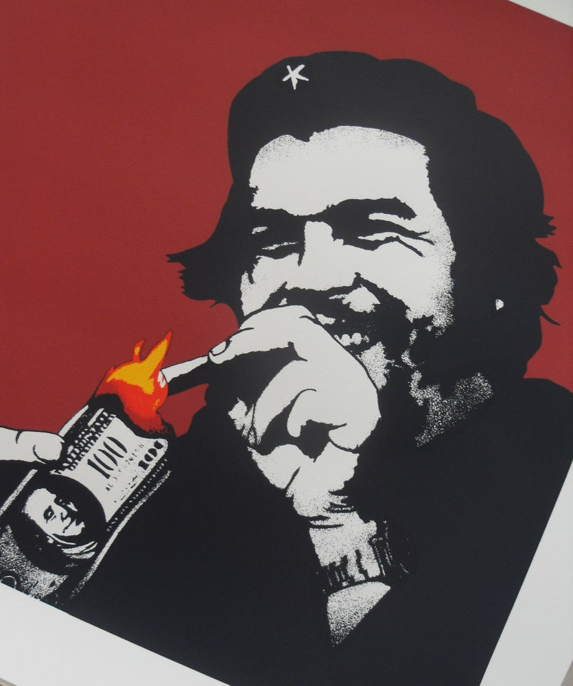 "Image of KUNSTRASEN ""BURN CAPITALISM"" RED - LIMITED EDITION OF 50 - 60CM X 60CM"