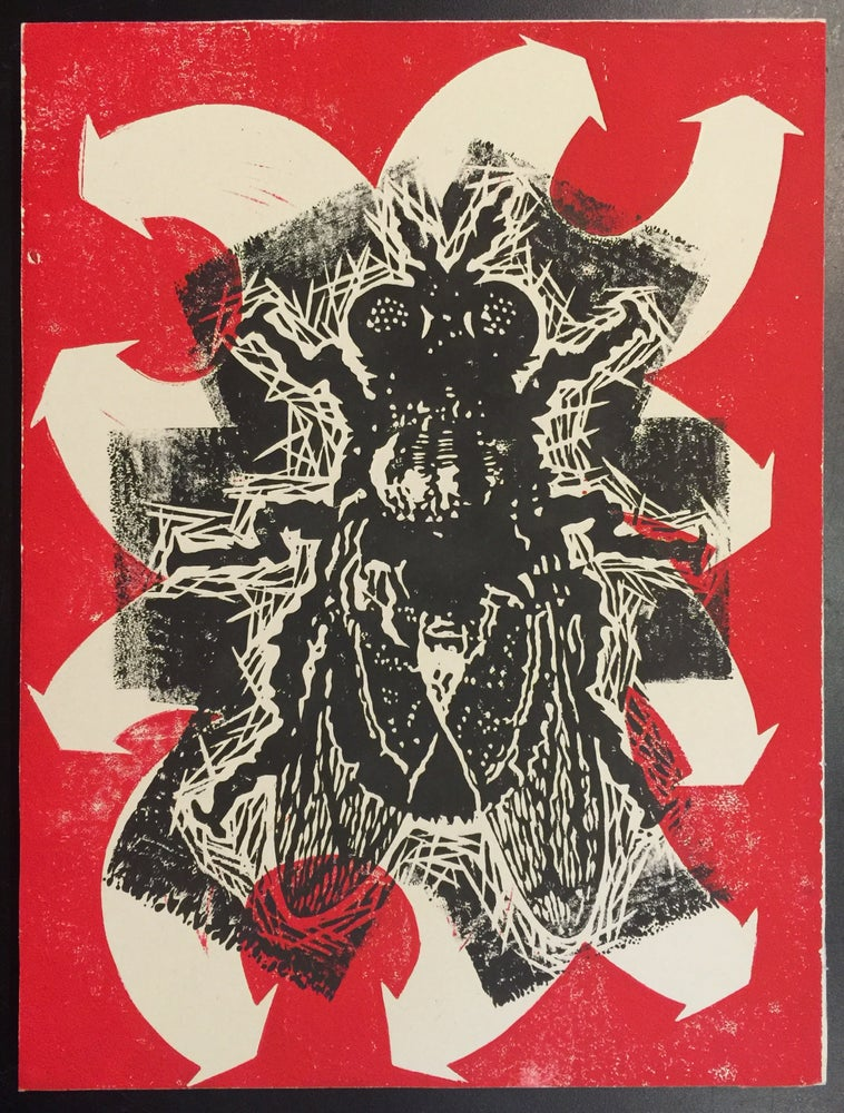 Image of Mod Abstract Fly - Linocut Print