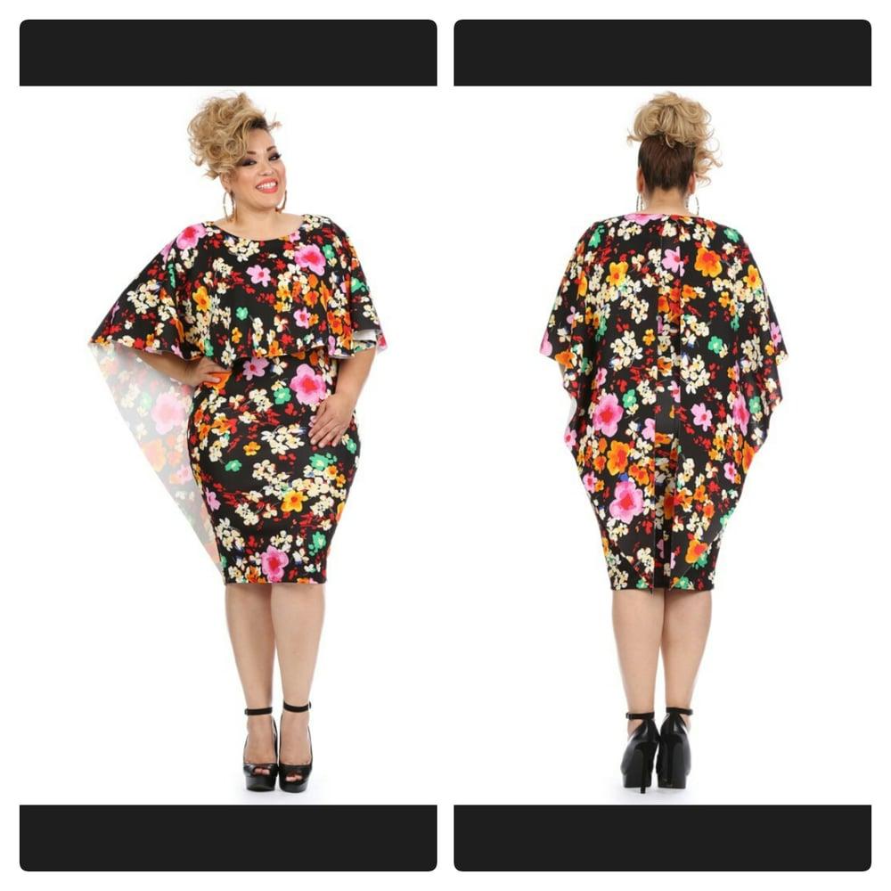 Image of Floral Cape Dress