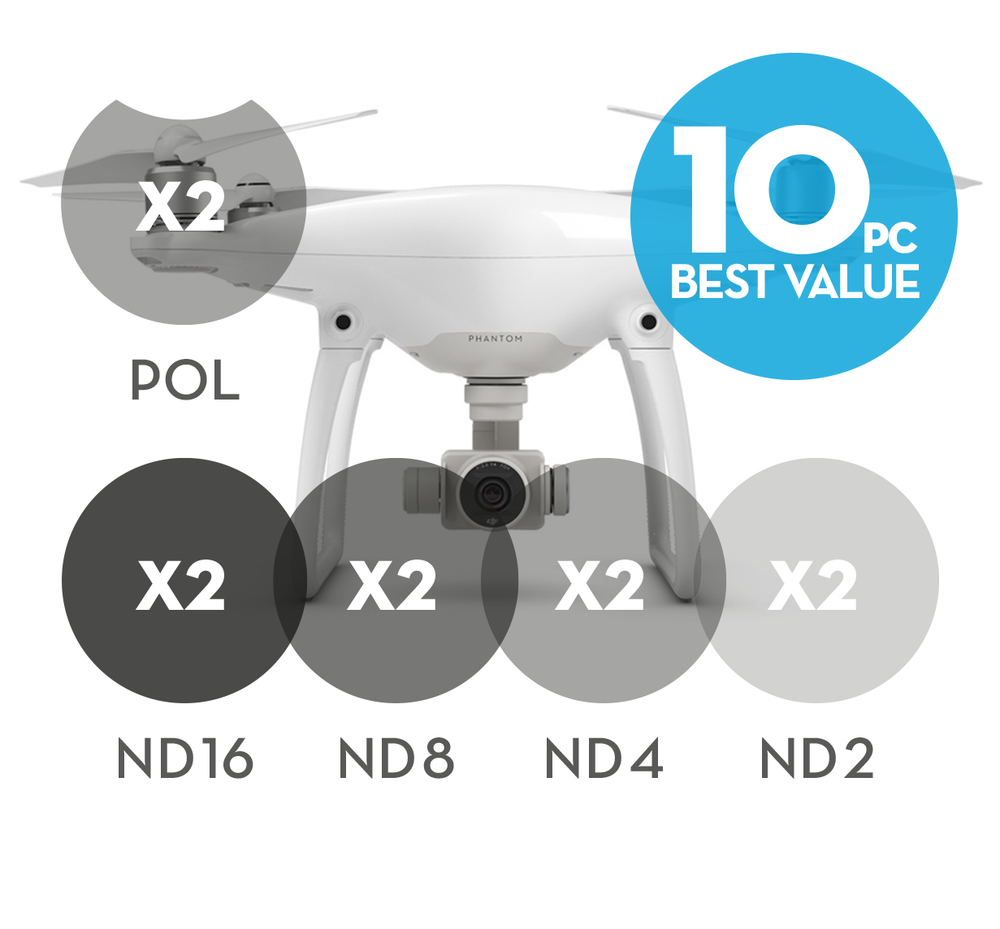 Image of 10-pack 2x Polarizer Filters 8x Neutral Density filters for DJI Phantom 4