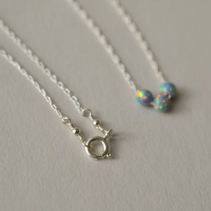 Image of Simulated periwinkle opal trio necklace sterling silver