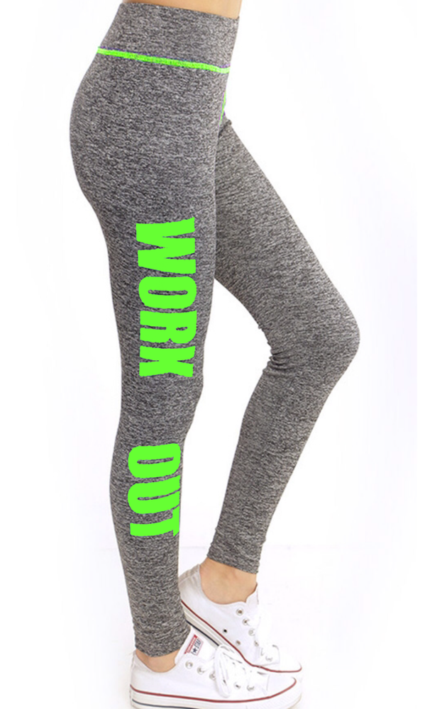 "Image of CCC ""WORK OUT"" GRAPHIC LEGGINGS GREEN"
