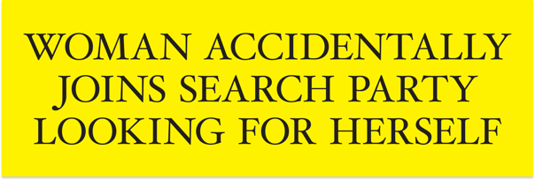 Image of Woman Accidentally Joins Search Party Looking For Herself (Bumper Sticker)