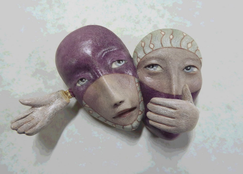 Image of Teamwork - Ceramic Mask Sculpture, Original Mask Art, Art to Wear