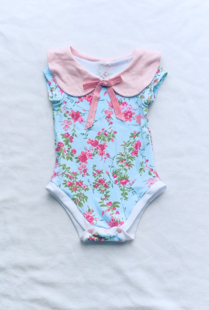 Image of Peter Pan Collar Onesie Pink and Blue