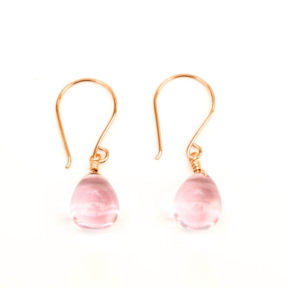 Image of Pink glass drop earrings v2