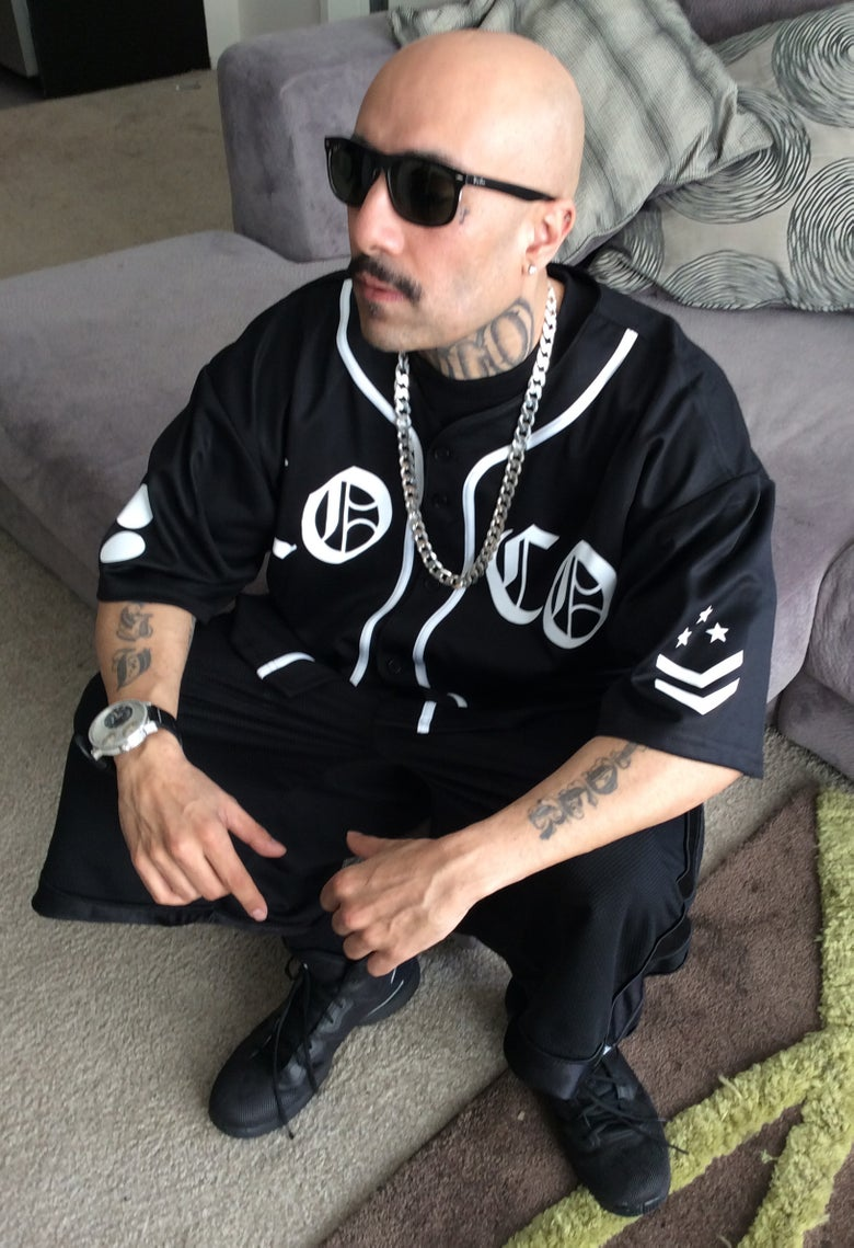 Image of Baseball Jersey - All Black / Locos - White Text