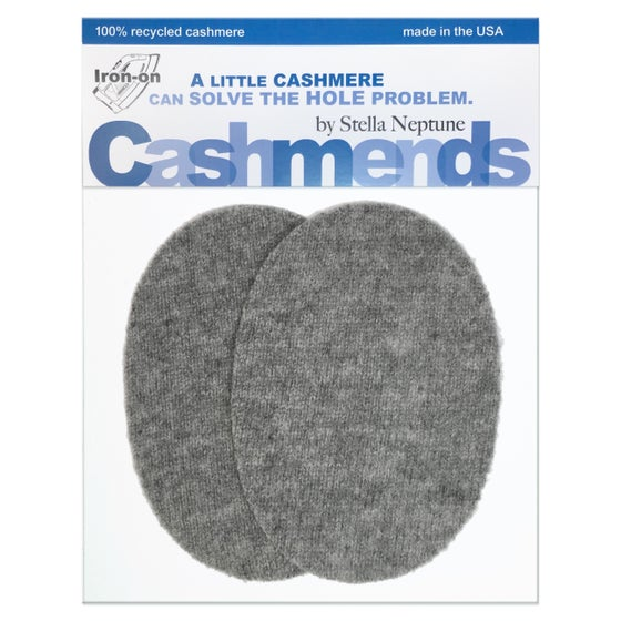 Image of Iron-On Cashmere Elbow Patches  - Medium Gray Ovals