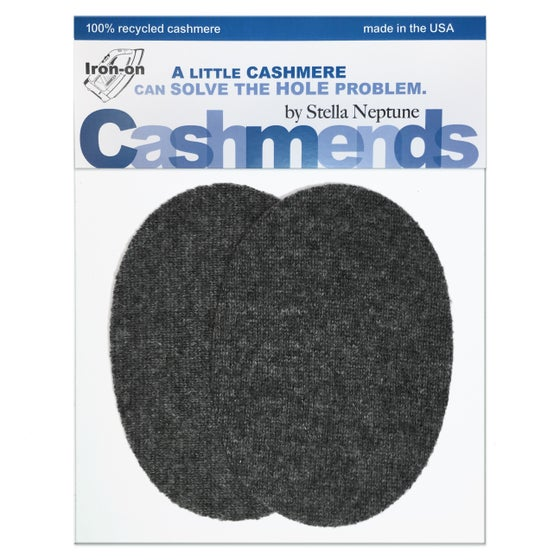 Image of Iron-On Cashmere Elbow Patches - Charcoal Grey Ovals - Limited Edition
