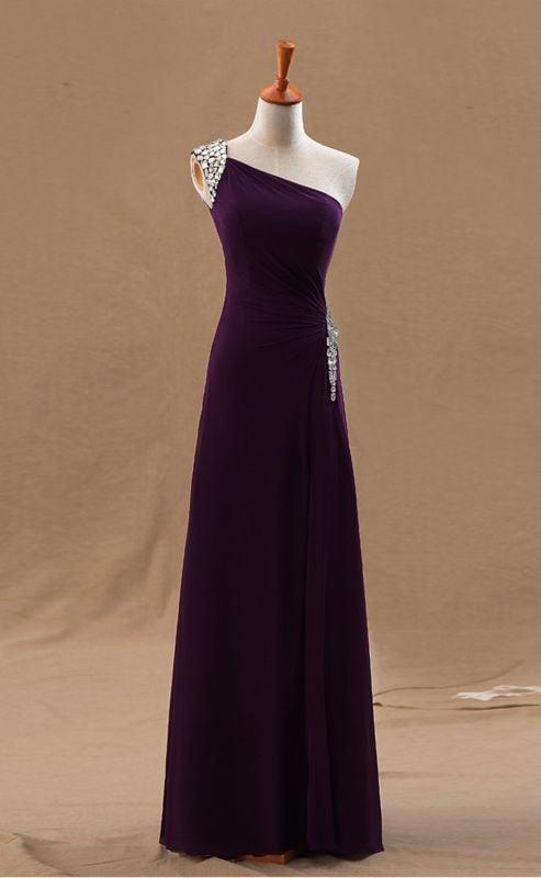 Beautiful Dark Purple One Shoulder Chiffon Prom Dresses