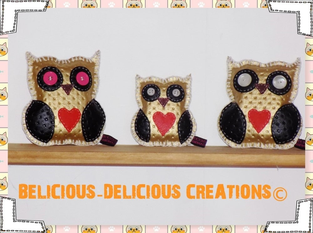 Image of Original lots de 3 coussin deco !!THE OWLY FAMILY !! EN Simili cuir dore