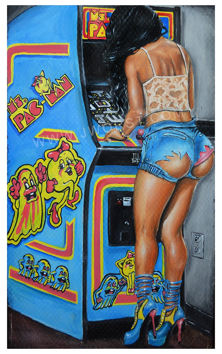 Image of JEREMY WORST Ms Pacman Arcade Sexy girl Artwork Fine Art Print pin up Inactive