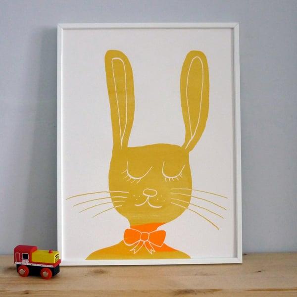 Image of Cool Bunny Screenprint - yellow gold