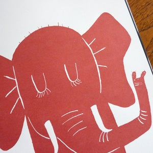 Image of Elephant Screenprint - copper red