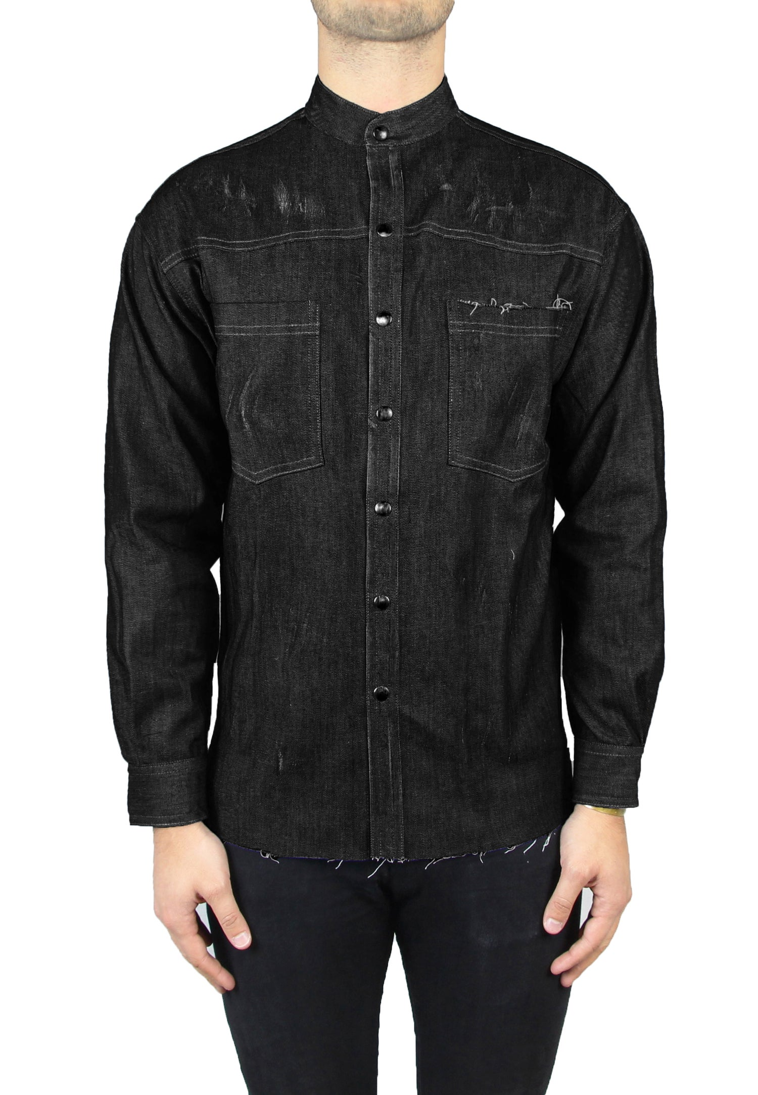 Image of CAMICIA ICONIC DENIM NERO