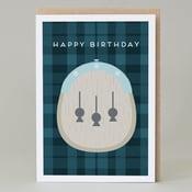 Image of Happy Birthday Kilt Blue Card