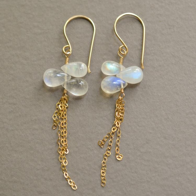Image of Rainbow moonstone chain earrings