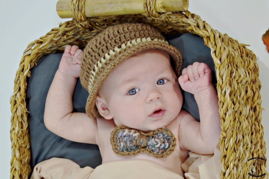 351c55132c1 Image of Baby hand Crochet Derby Hat with Tweed Crocheted Bow Neck Tie