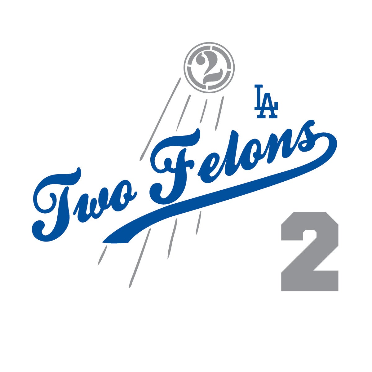 "Two Felons ""Play Ball"" (wht/nvy/gry)"