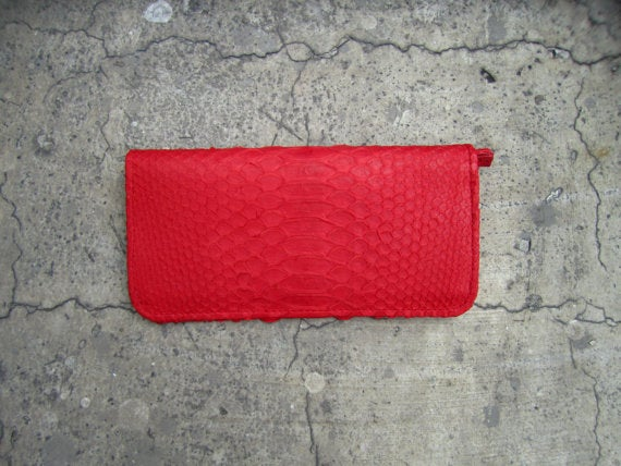 Image of Neon Red Bi Fold Magnet Python Leather Travel Wallet