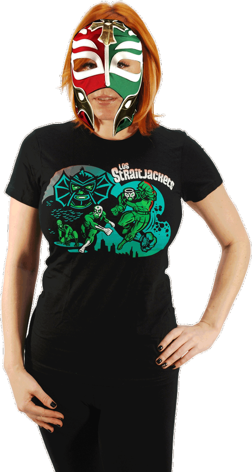 "Image of LOS STRAITJACKETS ""THE FURTHER ADVENTURES OF LOS STRAITJACKETS"" LADIES TEE"