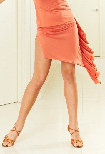 Image of Asymmetrical Ruffle Skirt - Orange J3307 Dancewear latin ballroom