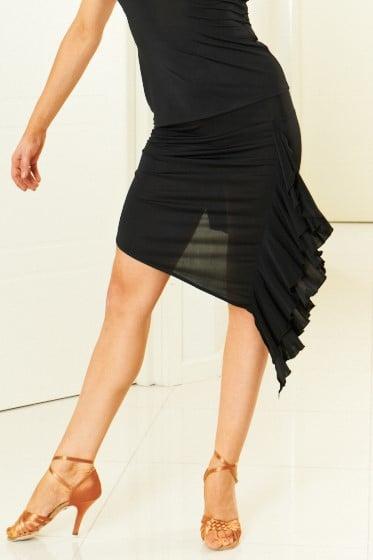 Image of Asymmetrical Ruffle Skirt - Black J3307 Dancewear latin ballroom